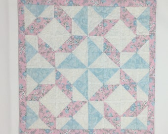 Shabby Chic Mini Quilt, Wallhanging, Table Topper, Candle Mat, Pink, Blue, White,Floral, Handmade