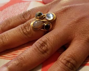 14K Moonstone and Multi Gem Ring Vintage