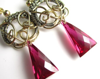 Mistress of the Night Earrings - 14k Gold Fill and Sterling Silver Wirewrap with Red Topaz