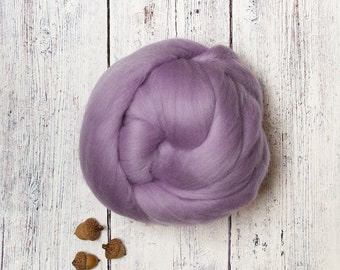3.4 oz Ethical Merino Wool Roving Combed Top Fiber, Lavender Purple Violet, Felting, Nuno, Weaving, Animal Friendly from Non-mulesed sheep