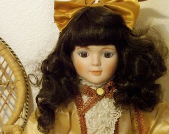 Brunette Curly Porcelain Doll From Marian Yu Designs - Stand Included - Vintage Lucy Littles 109