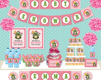 Dragon year Pink Baby shower DIY Printable Customized Full party Decoration set