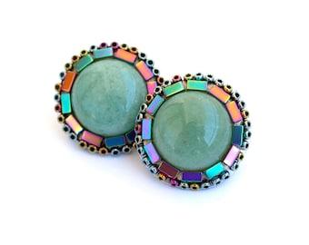 Green Jade Mandala Boho Earrings-Statement Earrings - Stud Earrings-Posts-Green Jade  Earrings-Unique-Boho