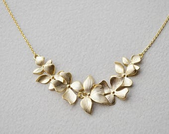 Orchid flower necklace,  Bridesmaid gift, Bridesmaid necklace, Everyday necklace, Wedding necklace, Mothers day gift, Bridesmaid necklace