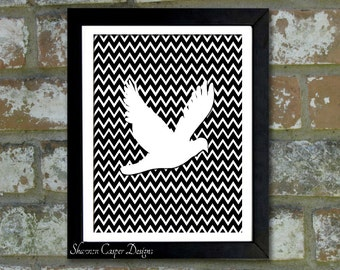 "Digital Download Typographic Print Wall Art ""Chevron Bird"" Instant Download Printable Art Printable Word Art Black and White Home Decor"