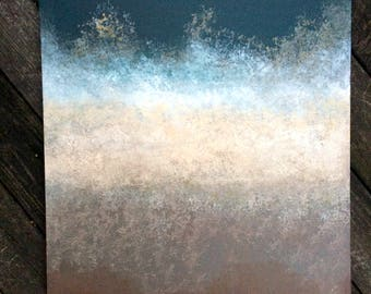 Deep Teal & Brown Gradient Abstract Painting