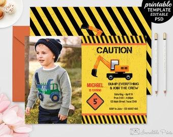 Printable Construction Boy Birthday Invitation Template. Printable Crane Boy Birthday Invitation. Download Editable Caution PDF DIY