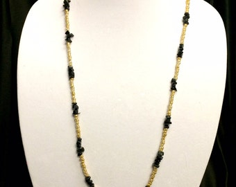 Black and gold beaded necklace with black chips long modern necklace