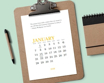 Printable Calendar - Creative Quotes - Download & Print 2018 Calendar - Minimalist Calendar - Editable Calendar PDF - Calendar Template PDF