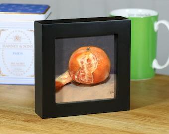 "Clementine, Original Food Painting, 4""x4"" Framed Oil Still Life"
