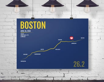 Boston Marathon Print - Personalized and Customized for 2018 or 2017, Marathon Print, Runner Gift, Running Art, BAA, Gifts for Runners