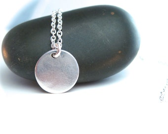Tiny Coin Necklace, Silver Dot Necklace, Simple Silver Necklace
