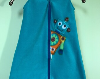 NEW-Fleece-ROBOTS-Blanket Sleep Sleeper Sack-0-3 Mo-Handmade-Ready to Ship