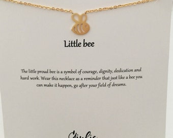Little bee necklace Bee necklace Layering Necklace Insect Jewelry Charm Necklace bee necklace Silver bee necklace Gold  Daughter gift - gift