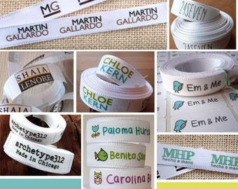 """4 YARDS x 0.6"""" widht, to Sew on, Custom Clothing Labels, Plain Label + Paper stickers FREE !  Fabric Label Tag . 1E"""