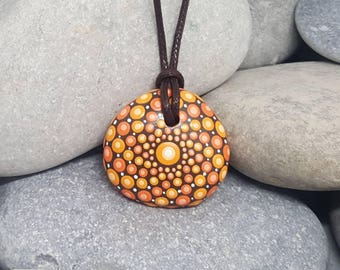 Orange Painted Necklace - Painted Rock - Hand-Painted Mandala Rock - Painted Stone - Mandala Pendant - Chakra - Meditation - Unique