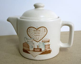 Vintage Teapot House of Lloyd Teapot  Baked with Love Teapot Vintage Stoneware Teapot Teapot for Country Kitchen - V206