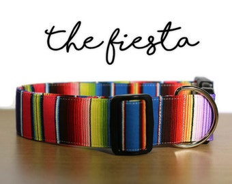 Serape Dog Collar, Rainbow Collar, Girl Dog Collar, Boy Dog Collar, Multicolor Collar, Southwestern Collar, Serape Dog Leash, Mexican Collar
