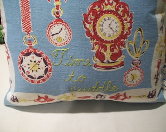 Pillow Cover - Clock Design - Vintage Fabric - Hand Embroidered