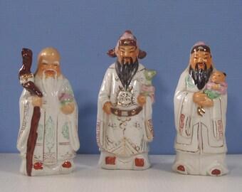 Old Chinese Taoist Deities Fu Lu Shou circa 1950s rare retired