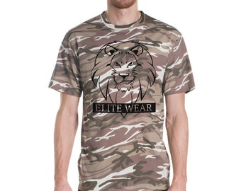 Short-sleeved Camouflage T-shirt: Lion Grin