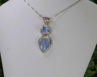 Moonstone Pendant, Gleaming Blue Glow, Sterling Silver, June Birthstone, 2 Stone Pendant, Blue Moonstone