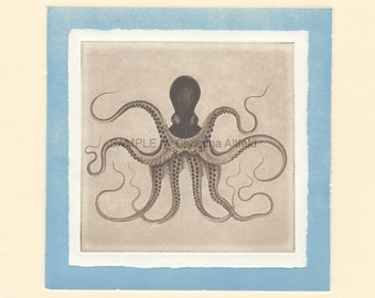 """OCTOPUS,  8"""" x 8"""" Art Print on 80lb fine art paper from handprinted intaglio etching and monoprint"""