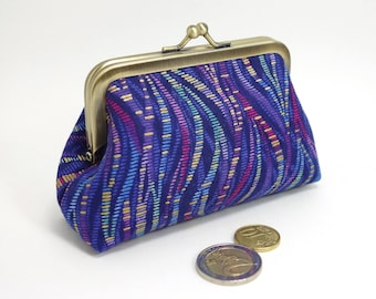 Kiss lock coin purse, gold, purple & blue / Change and card purse with clasp