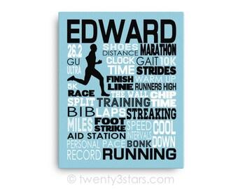 Running Typography Poster, Runner's Canvas, Gift for Marathon Runner, 5K or 10K Running Team Gift, Coach Art, Running Gift, Runner Gift