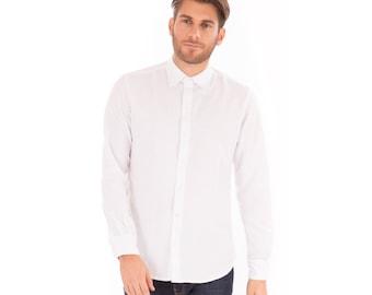 SALE!! Mens White Linen Mix Long Sleeve Slim Fit Shirt