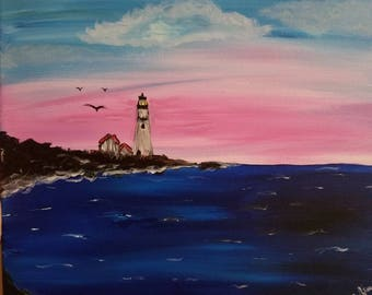12×12 Acrylic painting, ocean with lighthouse