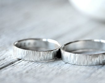Silver Textured Wedding Bands, THICK version, Custom Stamping on the inside