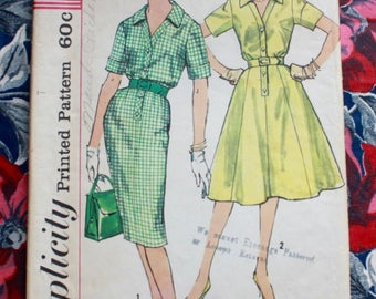 "1960s dress pattern / Simplicity 3421 / 60s shirtwaist dress / bust 40"" waist 32"""