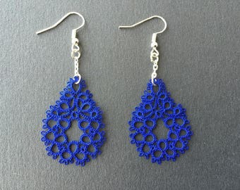 Navy tatting shuttle is blue hand tatted lace earrings