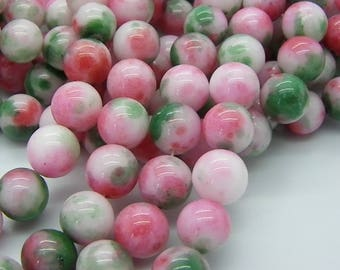 40 beads 10 mm pink, green, white jade sprinkled with a 1 mm hole