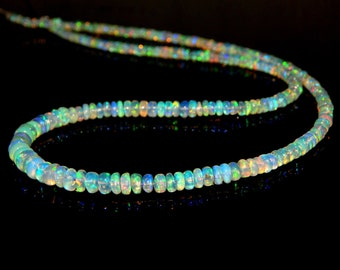 """70%OFF Ethiopian Opal Multi Fair Rondelle beads - 17""""Inches 100 Percent Natural Gemstone Size 5.4x3. mm Approx  - 0475"""