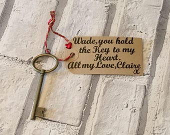 Key To My Heart, You Unlock My Soul, 21 Key to the Door Brass Key and Kraft Tag with Vinyl Font,Ornamental,Keepsake,Valentine's,Romance