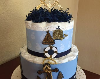 Baby Blue/Gold and Navy Nautical Diaper Cake/Boy Shower/ Boy Shower Centerpiece/Mother To Be Gift/ Diaper Cake for Boy/Nautical