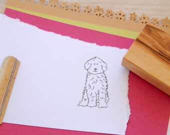 Labradoodle Olive Wood Charity Stamp