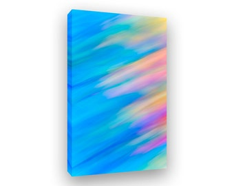 Colorful Abstract Art, Vertical Canvas Print, Framed Art, Modern Abstract Art, Blue Art, Large Scale, Color Pattern, Ready To Hang Art