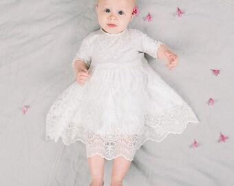 Eliza Flower Girl Dress, Baby Girl Dress Light Ivory Lace & White Cotton, Baby Girls Wedding Dress