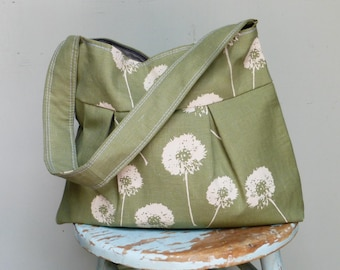 Moss Green Dandelion Linen Purse - Dandelions - 3 Pockets - Key Fob - Hand made and Hand Printed