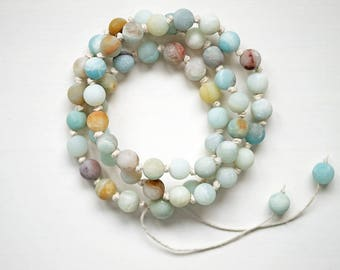 Amazonite Wrist Mala, 54 Bead Mala Bracelet, Hand Knotted Mala Beads, Matte Amazonite Beads, All Natural Hemp, Adjustable wrap Bracelet
