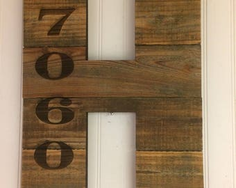 """House Number Plaque Wood Address Sign 12"""" Tall, Farmhouse, Cabin, Lakehouse, Urban, Outdoor, Traditional, Industrial"""