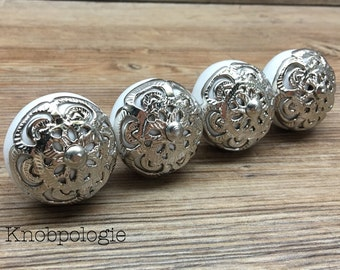 SET OF 4 White Ceramic Knob with Silver Filigree Overlay - Drawer Pull - Shabby Chic Home Decor