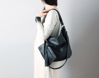 Leather hobo bag in black colour  - leather hobo, leather tote, black leather bag, slouchy hobo bag
