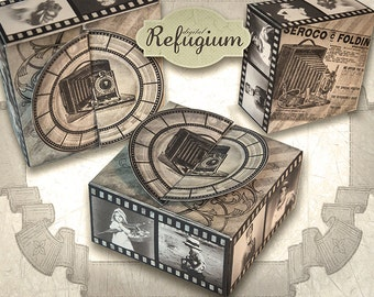 printable Box Filmstrip / INSTANT DOWNLOAD/ digital Collage Sheet/ DIY gift box Vintage