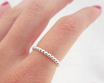 925 Sterling Silver Stacking Ring, Silver Ball Ring, Thin Bubble Ring, Minimalist Ring, Stacking Ring, Rings for Her, Silver Beaded Ring