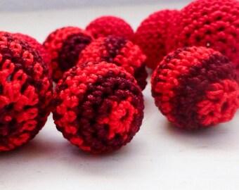 Crochet beads, bead crochet, red beads, set of ten, handmade beads, jewelry making supplies, cute beads, hand beading, crochet covered