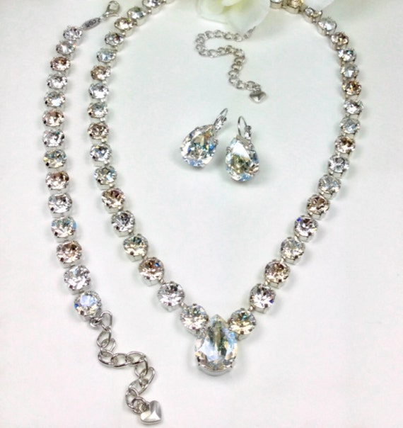 Swarovski Crystal 8.5mm Necklace with 18mm x 13mm Pear Drop   Moonlight, Lt.Champagne & Clear Crystals - Stunning! - FREE SHIPPING